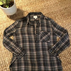 2 for $25 - Blush and Black Plaid Flannel Top